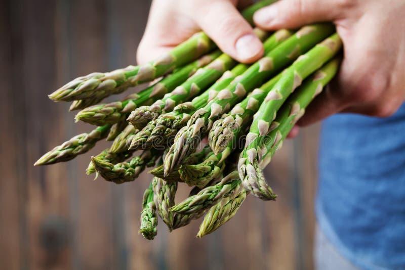 拿着在手上新鲜的绿色芦笋的收获农夫 有机和饮食菜 库存照片