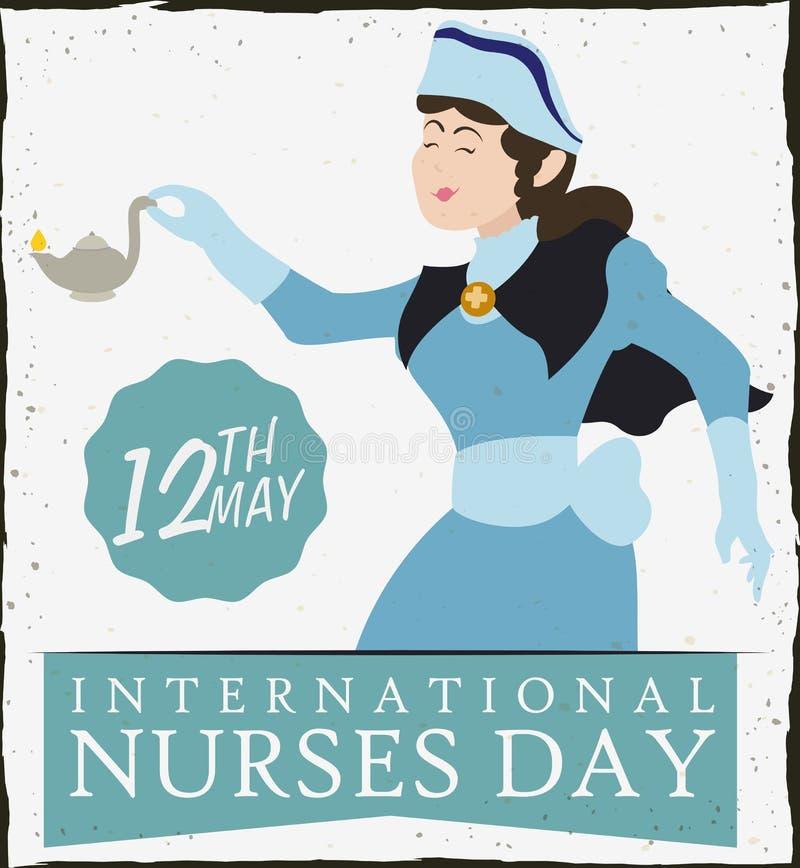 拿着在护士天减速火箭的海报,传染媒介Illu的护士一盏油灯 库存例证
