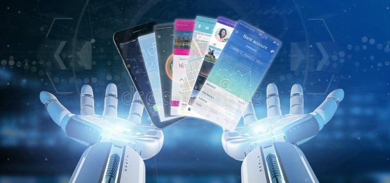 拿着在智能手机3d翻译的靠机械装置维持生命的人手流动应用模板 库存图片