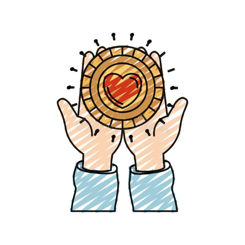 拿着在棕榈与心形的手颜色蜡笔剪影正面图一枚硬币在慈善标志里面 向量例证