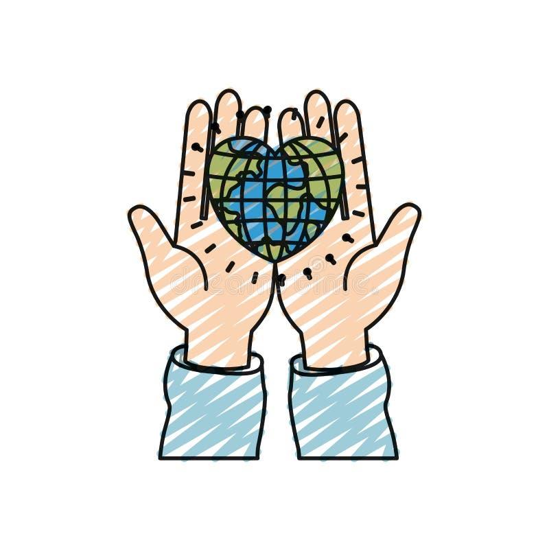 拿着在棕榈在心形的手颜色蜡笔剪影正面图地球地球世界 向量例证