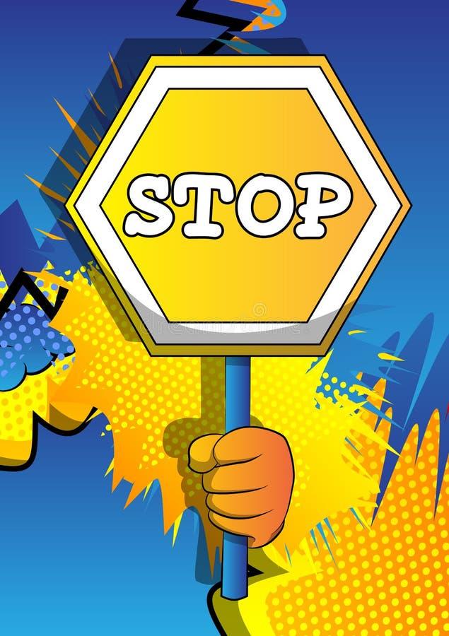 拿着在漫画背景的手一个停车牌 向量例证