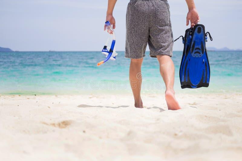 拿着在热带的人假期后侧方潜航的齿轮  免版税库存照片
