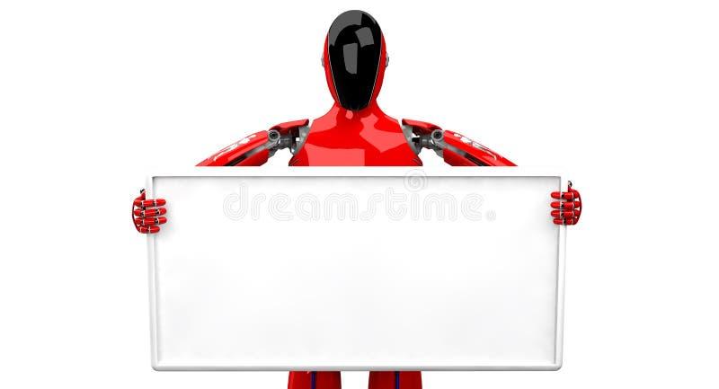 拿着在白色背景的Droid白板 向量例证