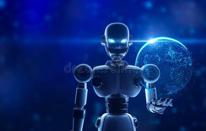 拿着在真正显示的机器人行星地球 库存例证