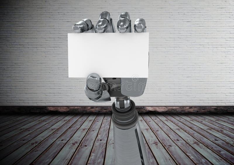 拿着在砖墙前面的机器人手一个空插件 皇族释放例证