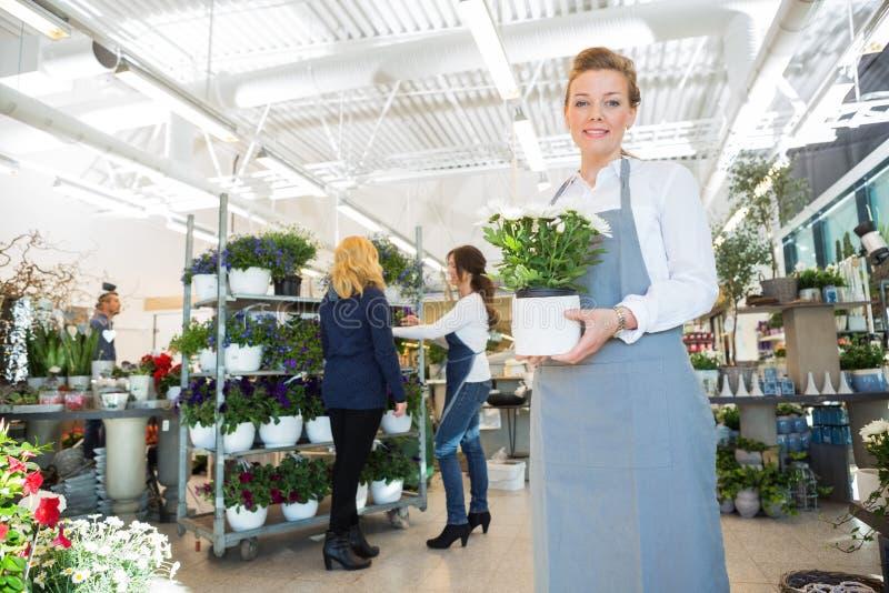 拿着在花店的愉快的女店员花盆 库存照片