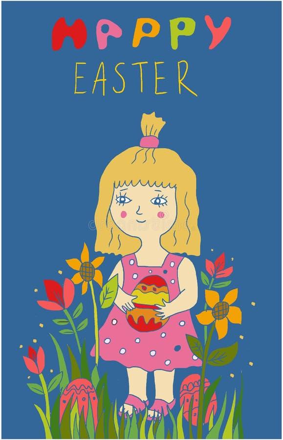拿着在花的逗人喜爱的小孩女孩被绘的鸡蛋 免版税图库摄影