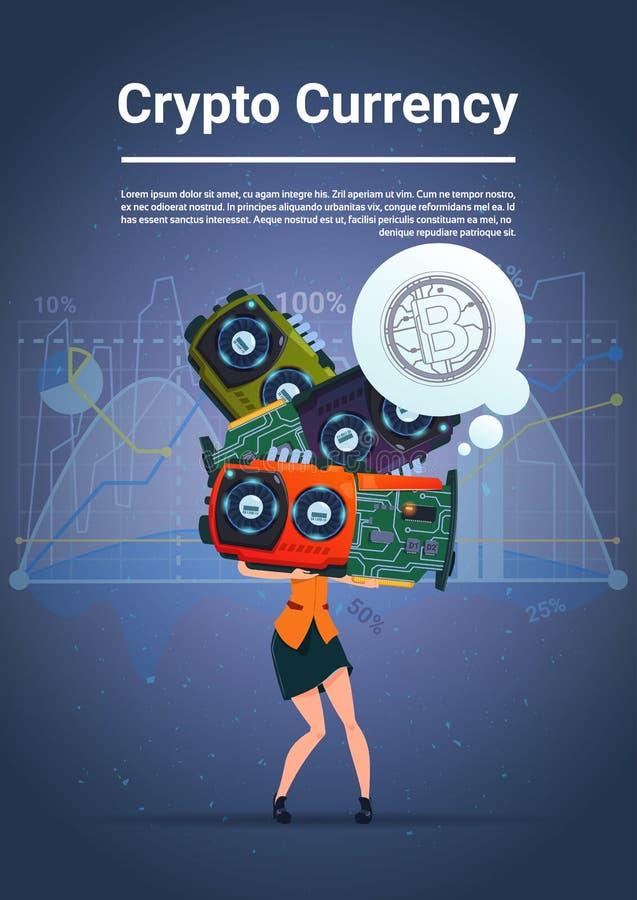 拿着在蓝色背景的妇女微集成电路Bitcoins概念数字式隐藏货币现代网金钱与财政 向量例证