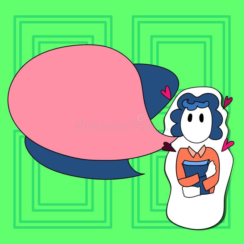 拿着在贴纸样式的女孩的例证一本书与小心脏在她附近 两空白的颜色讲话泡影 库存例证