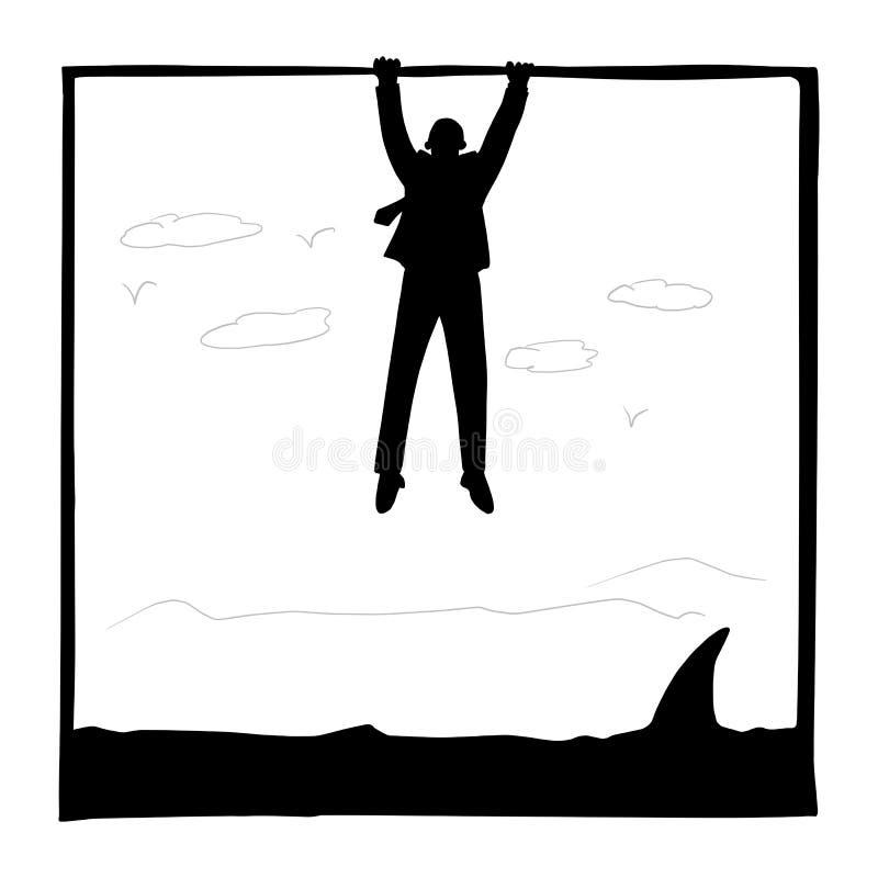 拿着在鲨鱼的剪影商人一个框架剪影乱画手拉的传染媒介例证在白方块隔绝了 皇族释放例证