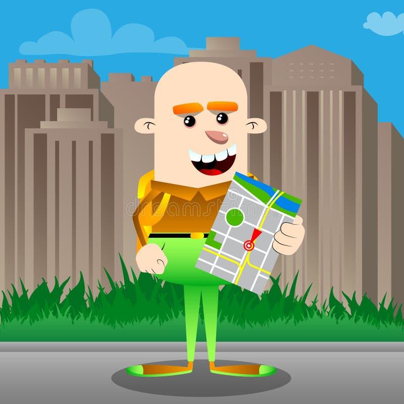 拿着地图的滑稽的微笑的逗人喜爱的动画片男小学生 皇族释放例证