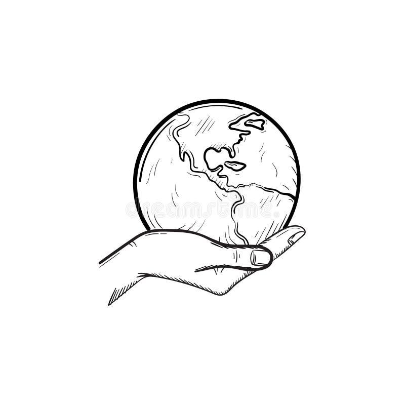 拿着地球手拉的剪影象的手 库存例证