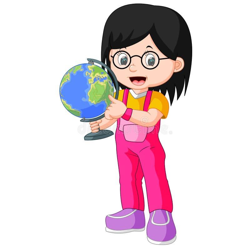 拿着地球的年轻少年女孩 向量例证