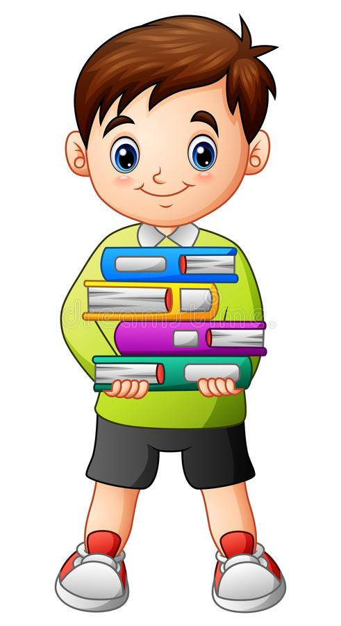 拿着堆书的动画片男孩 库存例证