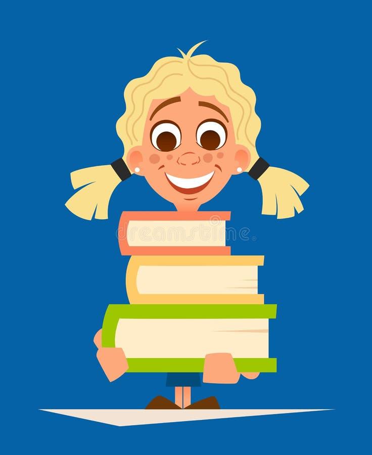 拿着堆书的愉快的微笑小女孩女小学生 库存例证