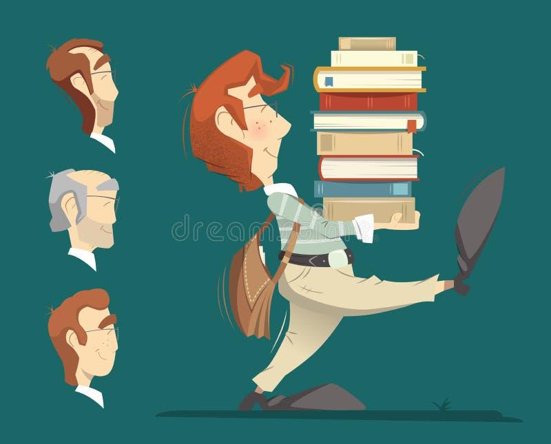 拿着堆堆堆书的学生 向量例证