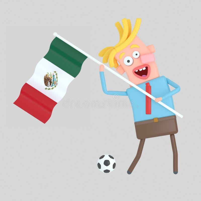 拿着墨西哥的旗子的人 3d例证 免版税库存照片