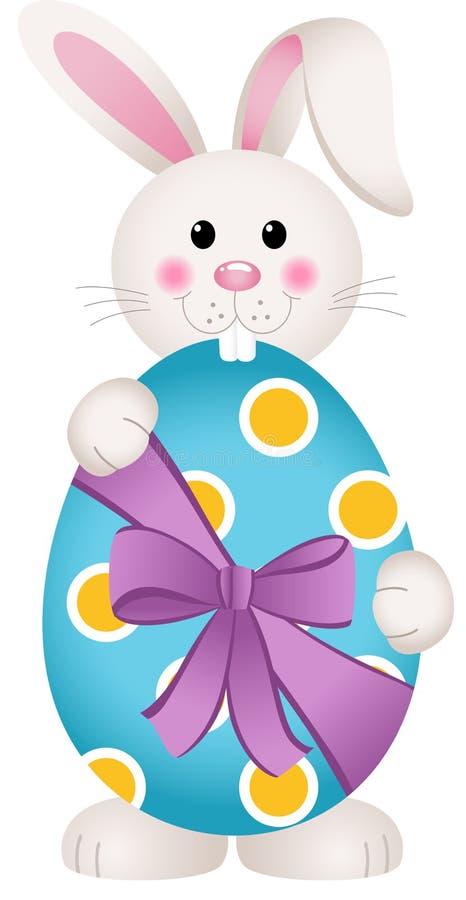 拿着复活节彩蛋的逗人喜爱的兔宝宝 向量例证