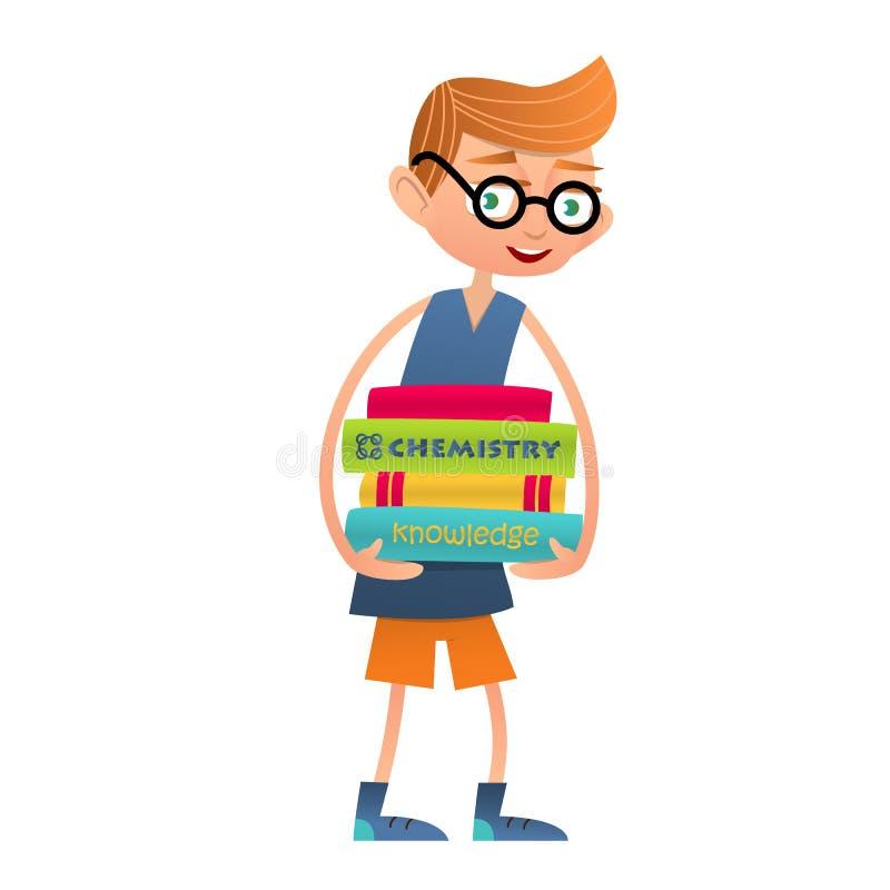 戴拿着大堆书的眼镜的滑稽的男孩 库存例证
