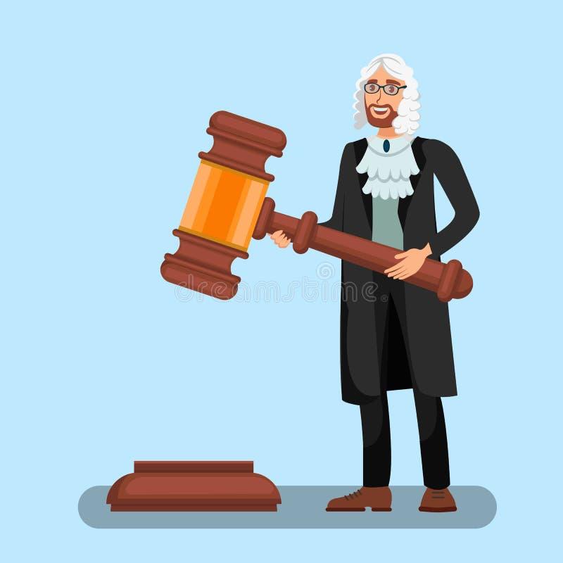 拿着大惊堂木平的例证的假发的法官 向量例证