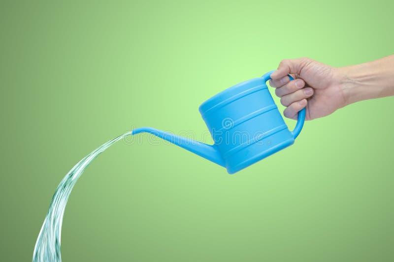 拿着大海罐头用落的水的人的手 免版税图库摄影