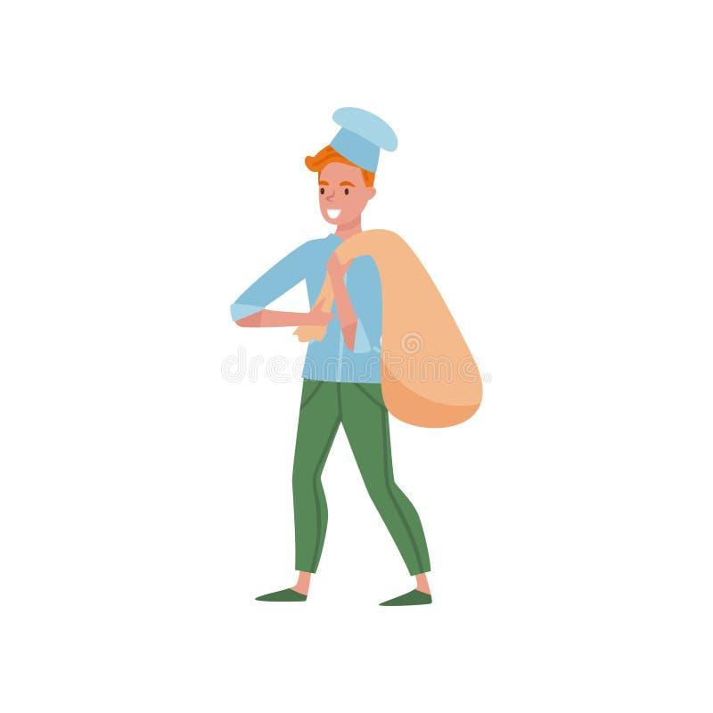 拿着大袋子面粉的贝克 动画片在厨师制服的人字符有帽子的 bakershop的工作者 平的传染媒介设计 向量例证