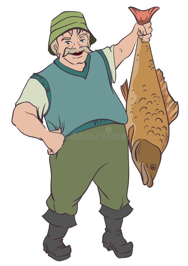 拿着大鱼的渔夫由尾巴 皇族释放例证