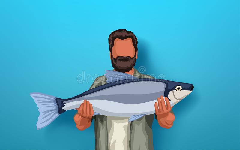 拿着大鱼的Fisher 向量例证