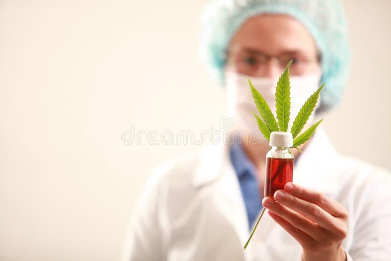 拿着大麻的妇女医生生叶并且上油 替代竹浴biloba银杏树项目医学温泉盘 免版税库存图片
