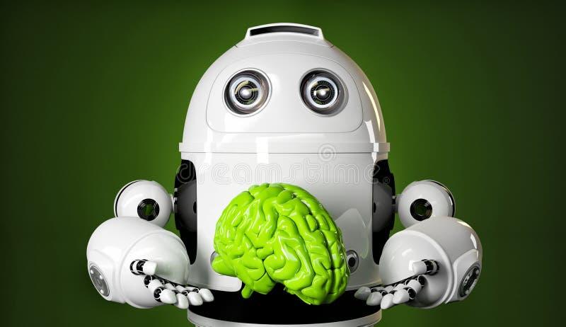 拿着大绿色脑子的机器人 库存例证