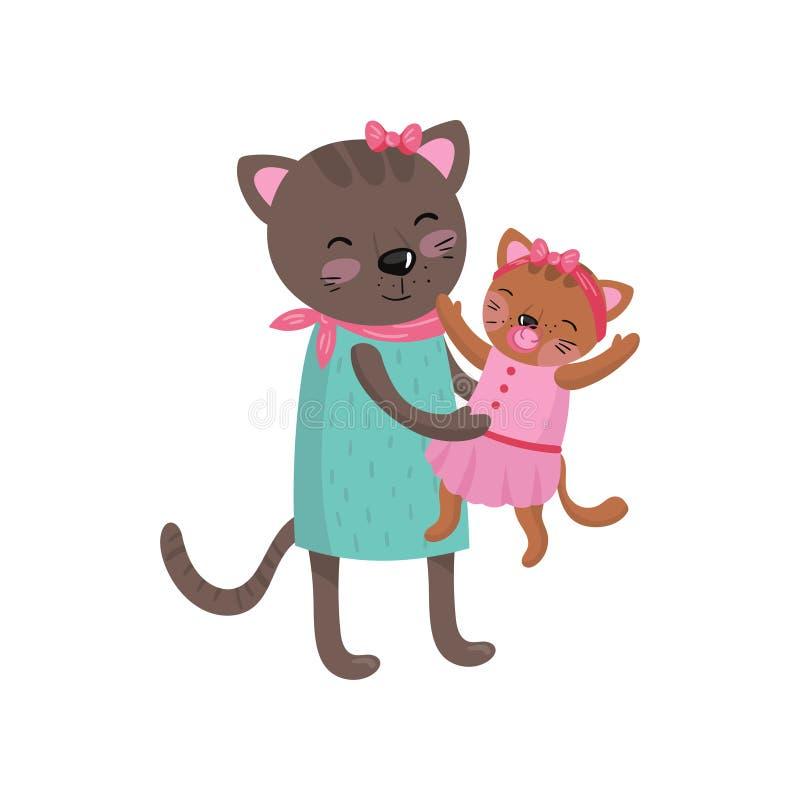 拿着她小的小猫的微笑的母亲猫 愉快的似猫的家庭画象 逗人喜爱的漫画人物 被赋予人性的动物 库存例证