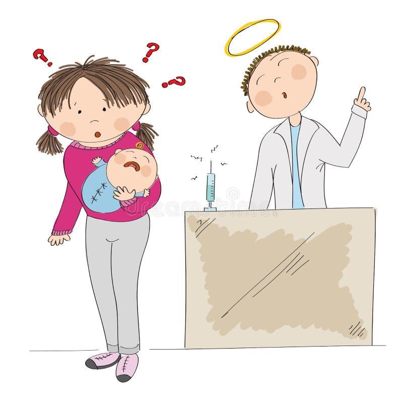 拿着她的男婴的困惑的年轻母亲 接种? 向量例证