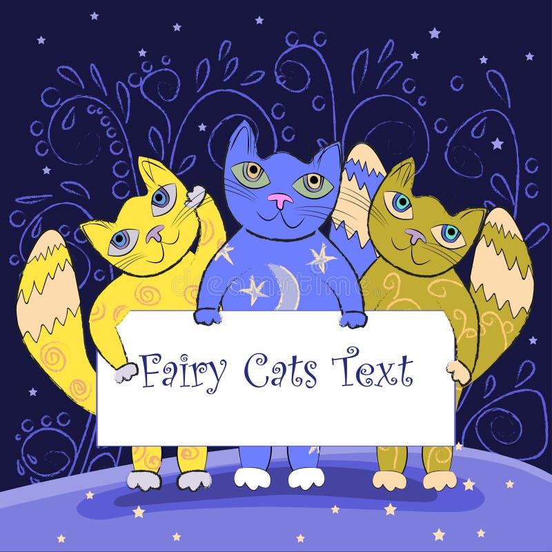 拿着委员会的三只逗人喜爱的神仙的猫 神仙的猫框架 孩子边界 皇族释放例证