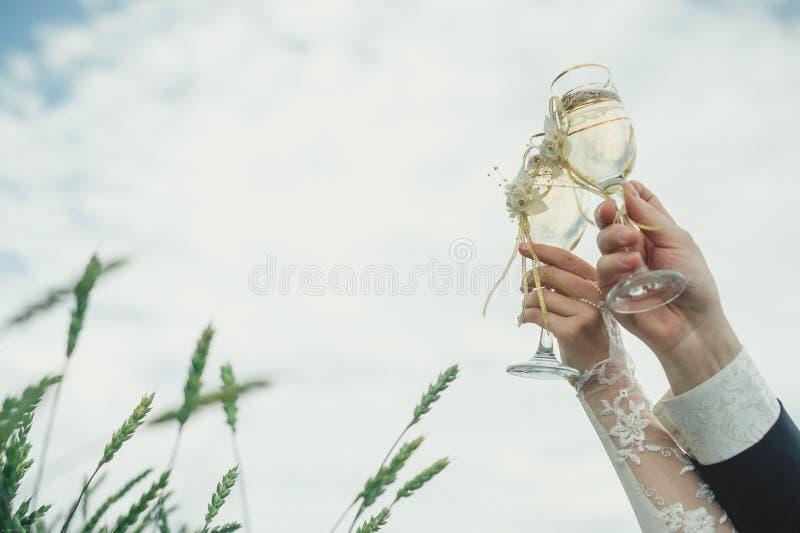 拿着婚礼香槟玻璃的新娘和新郎 免版税库存图片