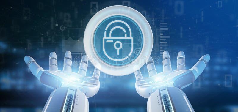 拿着安全挂锁与stats和二进制编码3d翻译的靠机械装置维持生命的人轮子象 向量例证