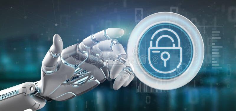 拿着安全挂锁与stats和二进制编码3d翻译的靠机械装置维持生命的人轮子象 库存例证