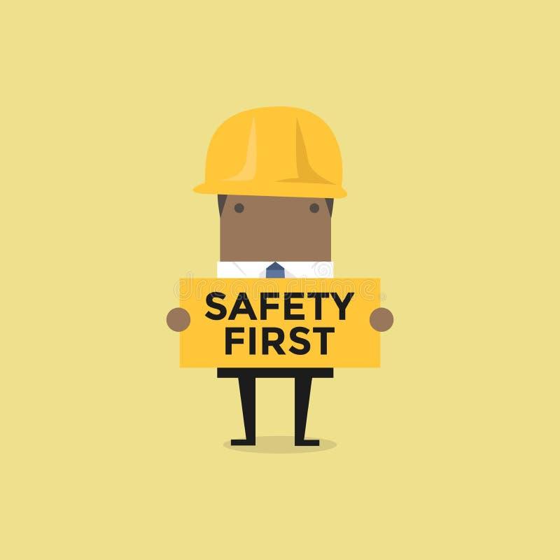 拿着安全第一标志的非洲商人 向量例证