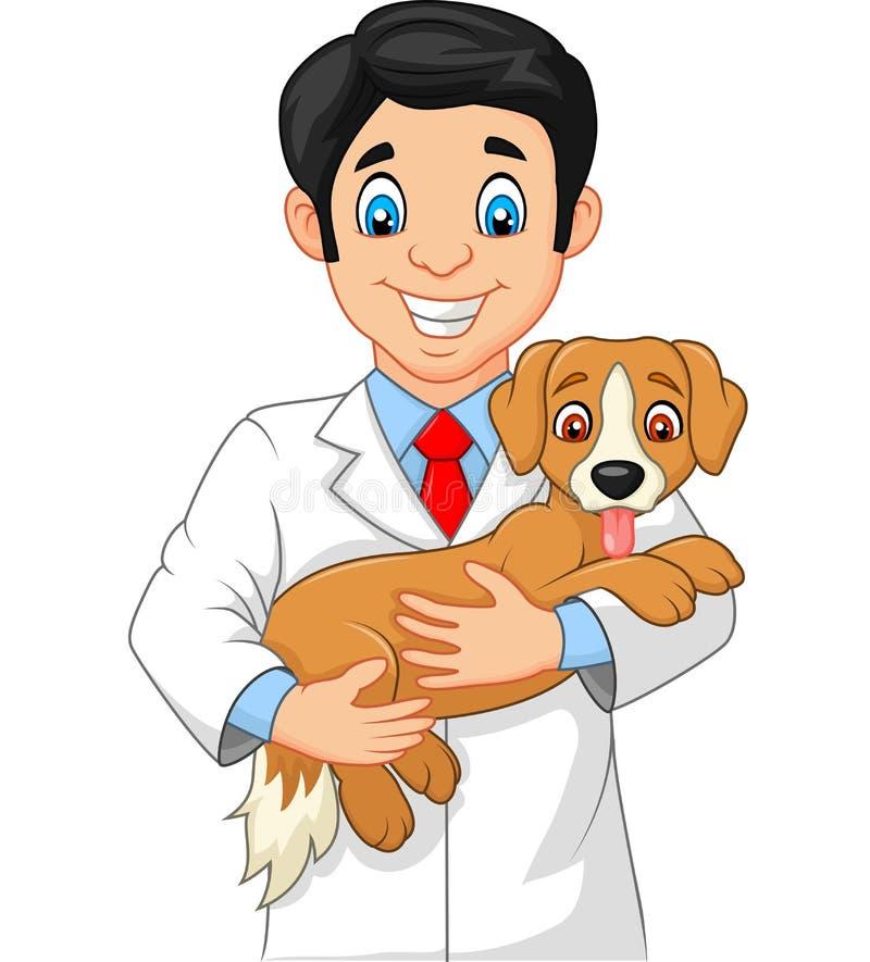 拿着小狗的兽医 库存例证