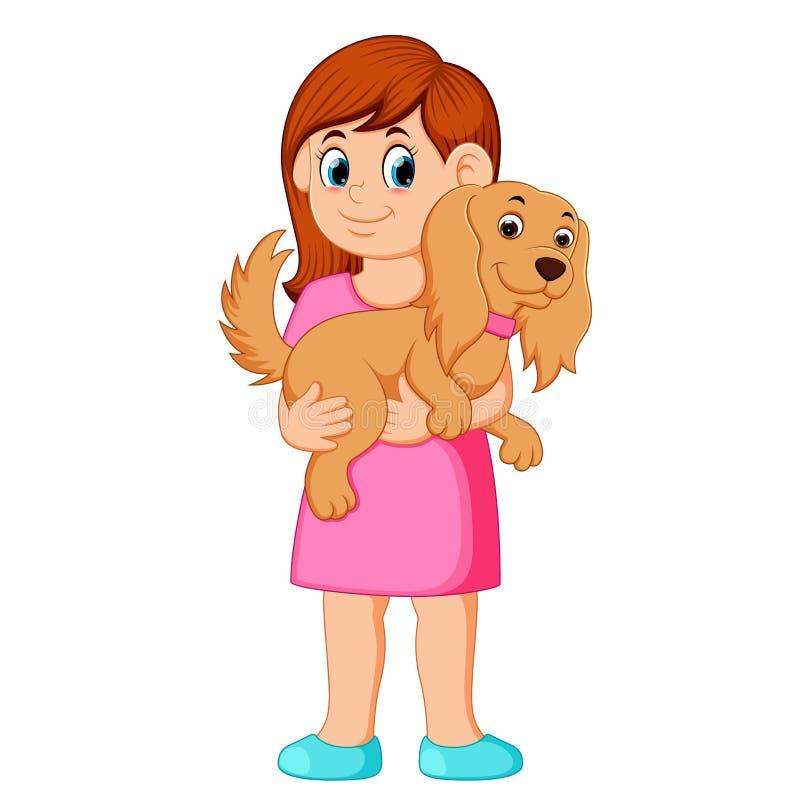 拿着小的妇女的狗 向量例证
