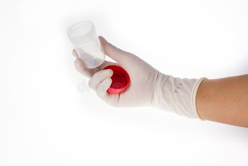 拿着尿分析实验室的手瓶 库存照片