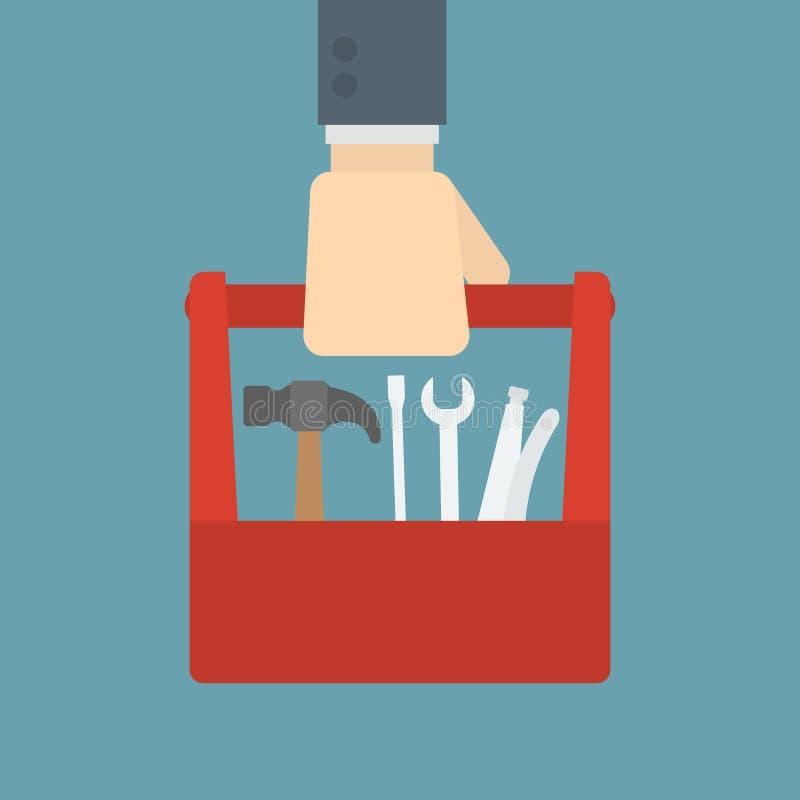 拿着工具箱的商人 向量例证