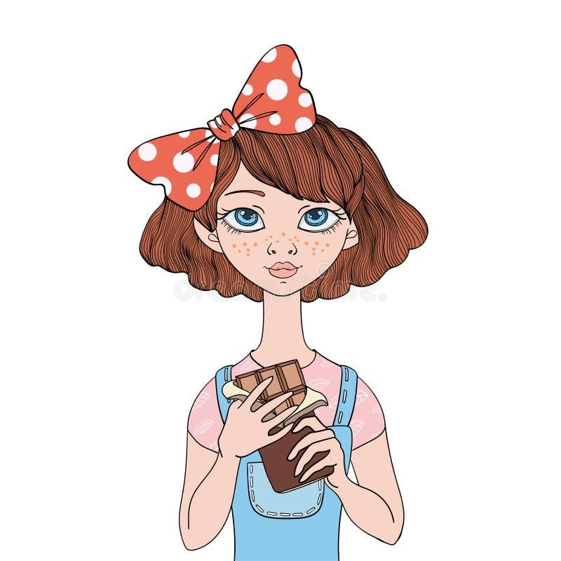 拿着巧克力块的女孩 爱吃甜品的胃口 导航画象例证,隔绝在白色背景 向量例证