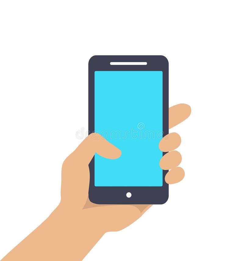 拿着巧妙的电话的手显示屏幕被隔绝 皇族释放例证