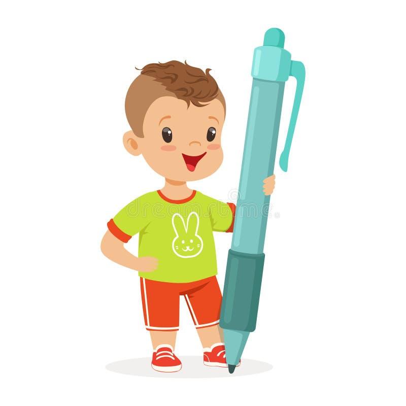 拿着巨型蓝色笔动画片传染媒介例证的逗人喜爱的微笑的小男孩