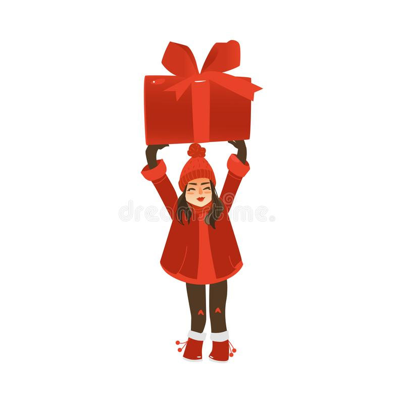 拿着巨大的圣诞节礼物的微笑的青少年的女孩 向量例证