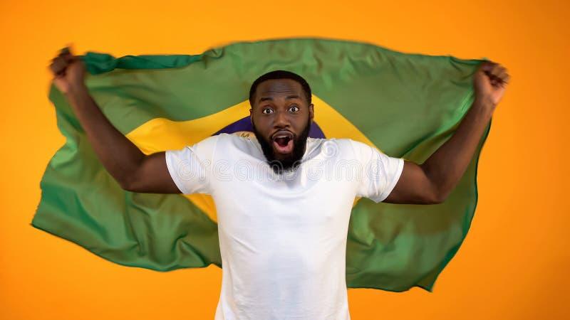 拿着巴西旗子,支持的国家体育队的非裔美国人的人 库存图片