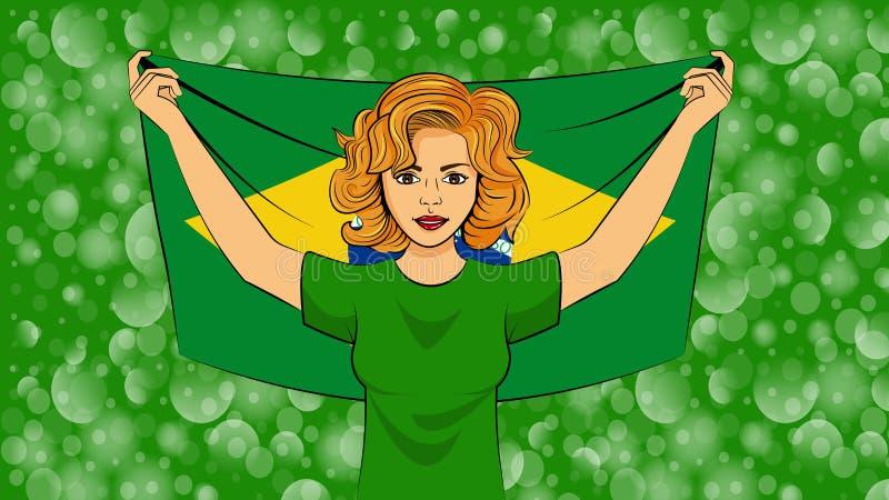 拿着巴西的一面国旗的白肤金发的女孩 向量例证