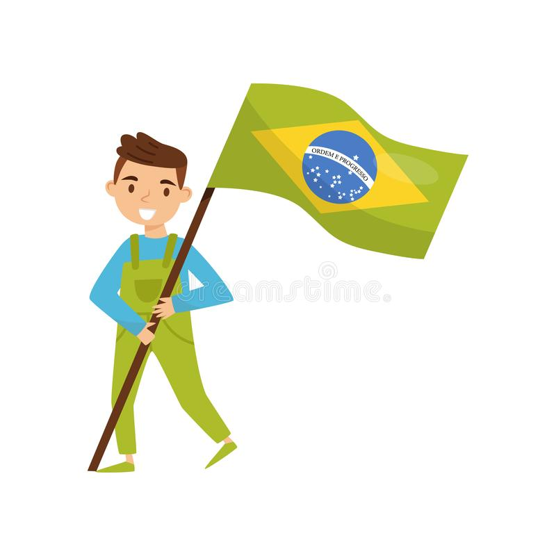 拿着巴西,美国独立日的设计元素,国旗纪念日在白色的传染媒介例证的国旗的男孩 库存例证