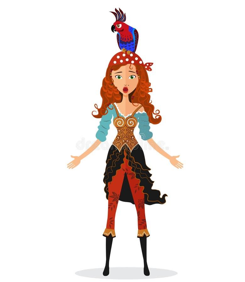 拿着带有被点燃的保险丝的滑稽的惊奇的红发海盗女孩一个炸弹有在白色背景隔绝的他的头的一只鹦鹉的 向量例证